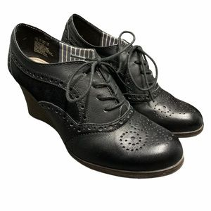 Hush Puppies Leather Oxford Wedge